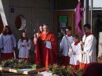 Pfarrer Neumaier segnet die Palmzweige