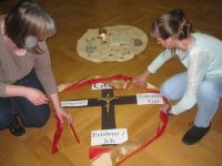 Da Gott uns in unseren Grenzen beisteht, wird ein gold-rotes Tuch um das -Vertrauenskreuz- gelegt